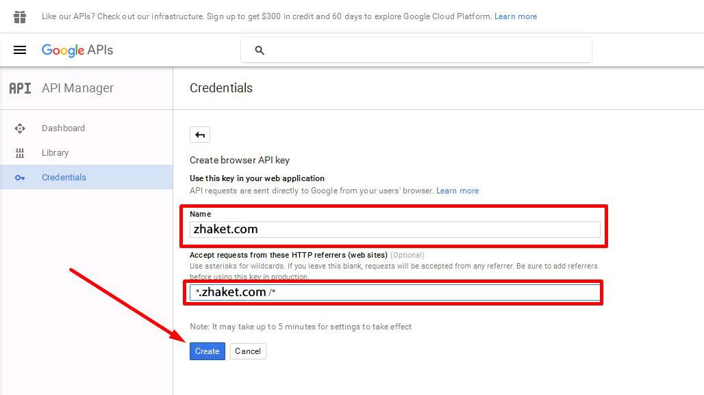 کد api گوگل